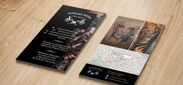 Peerless Tattoo Studio Tatuażu - ulotka reklamowa