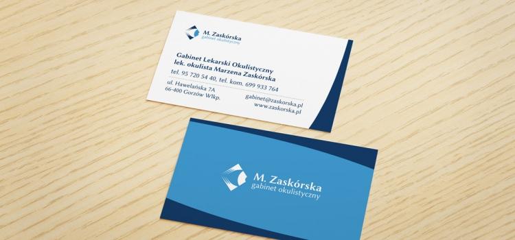 wizytówki - Gabinet Okulistyczny M. Zaskórska