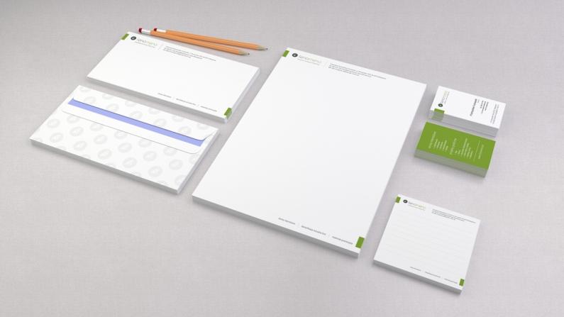 Koperta DL, listownik A4, wizytówki, notes - elementy identyfikacji wizualnej firmy FENOMENO