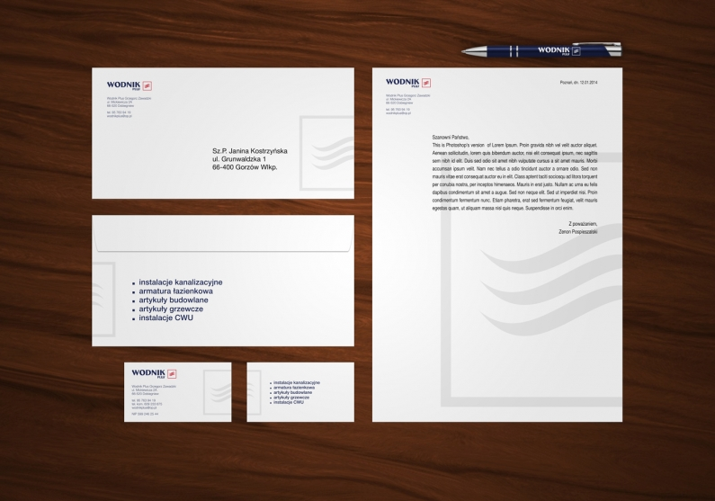 Elementy identyfikacji wizualnej firmy Wodnik Plus