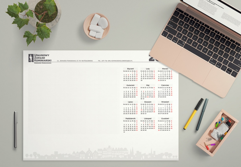 Wizualizacja projektu kalendarza biurkowego