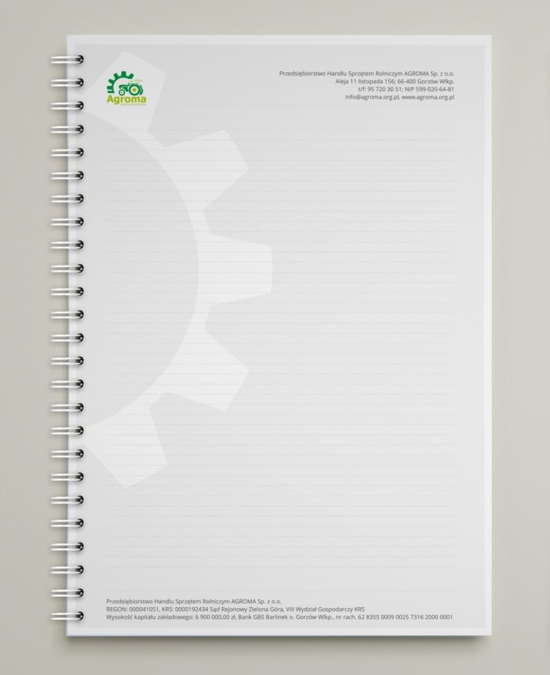 Wizualizacja notesu formatu A4 ze spiralą — strona wewnętrzna