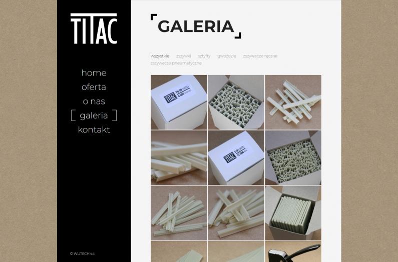 Zrzut ekranu - strona internetowa titac.pl - galeria