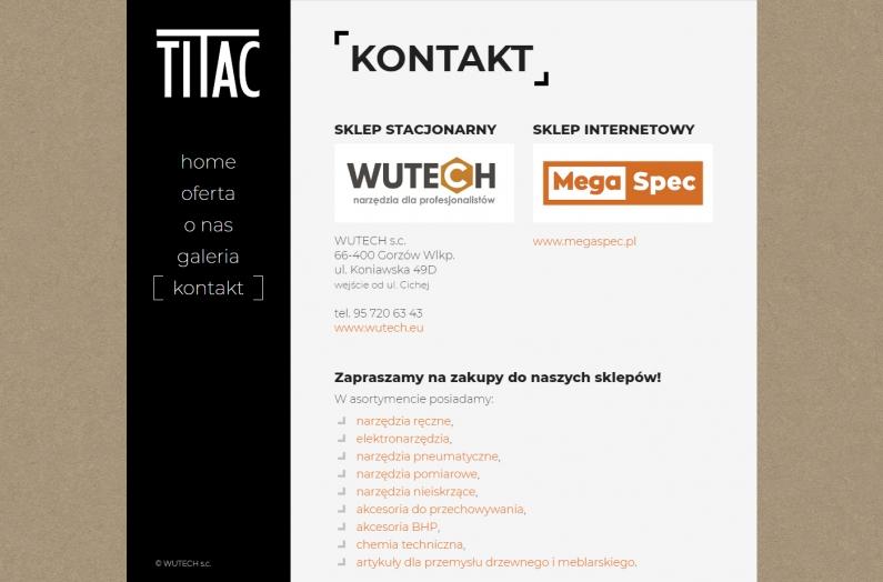 Zrzut ekranu - strona internetowa titac.pl - kontakt
