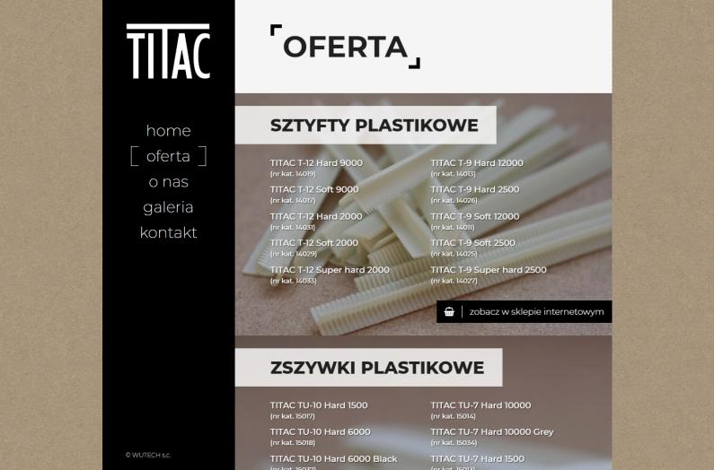 Zrzut ekranu - strona internetowa titac.pl - oferta