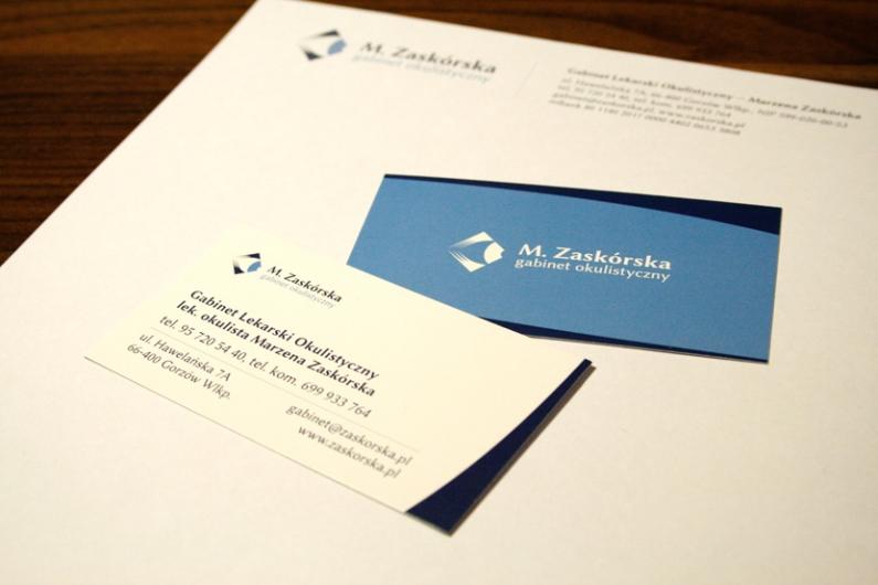 wizytówki, listownik, papeteria, papier firmowy - Gabinet Okulistyczny M. Zaskórska