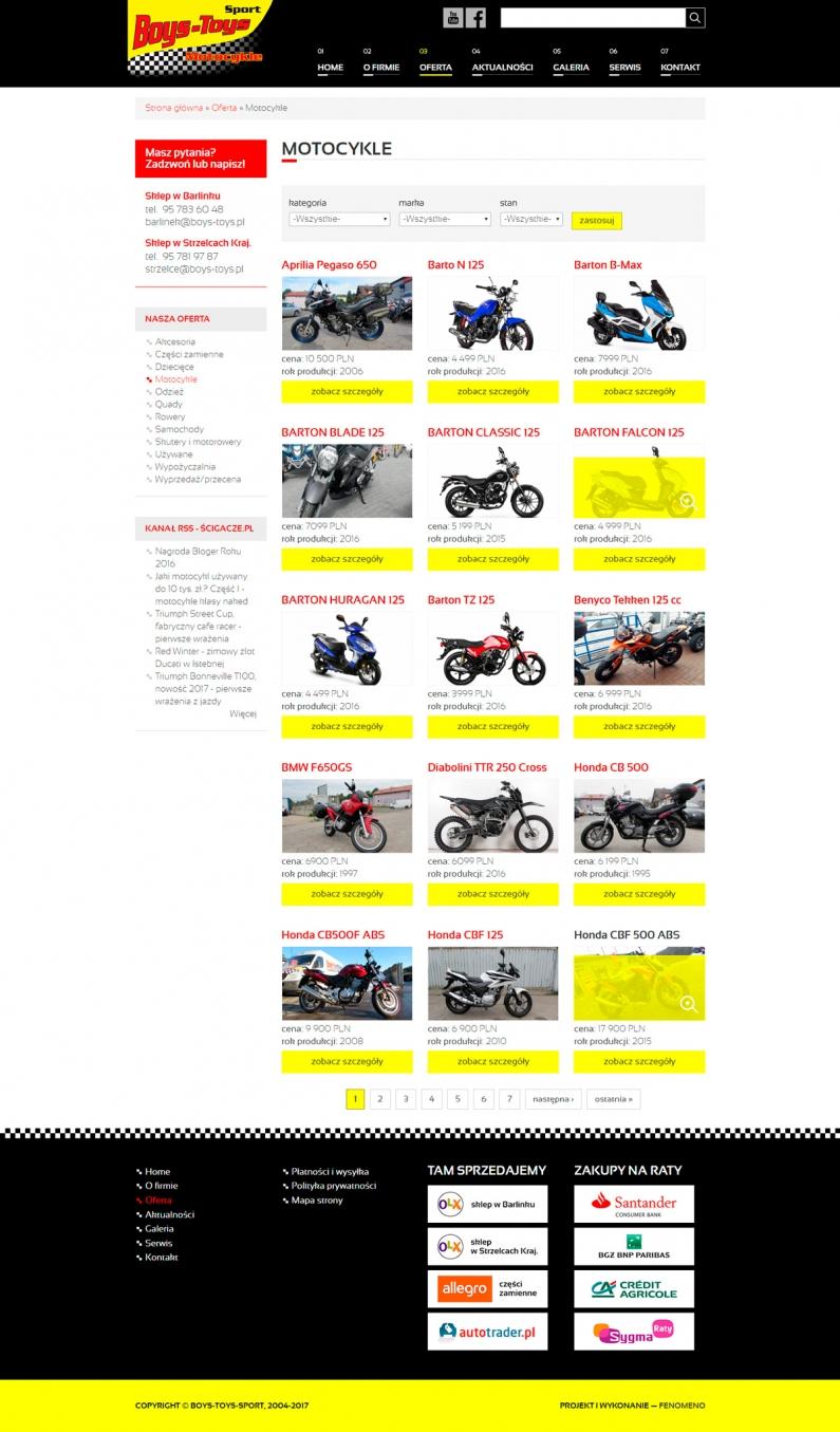Widok strony z listą produktów