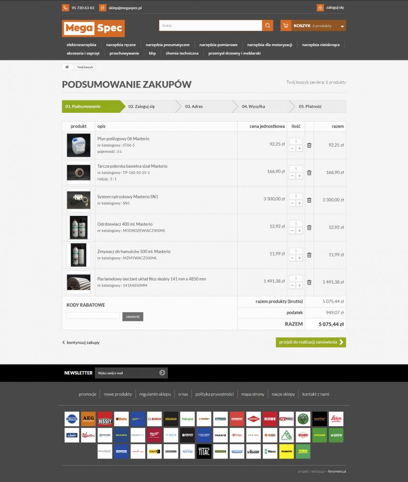 Sklep internetowy megaspec.pl - zawartość koszyka
