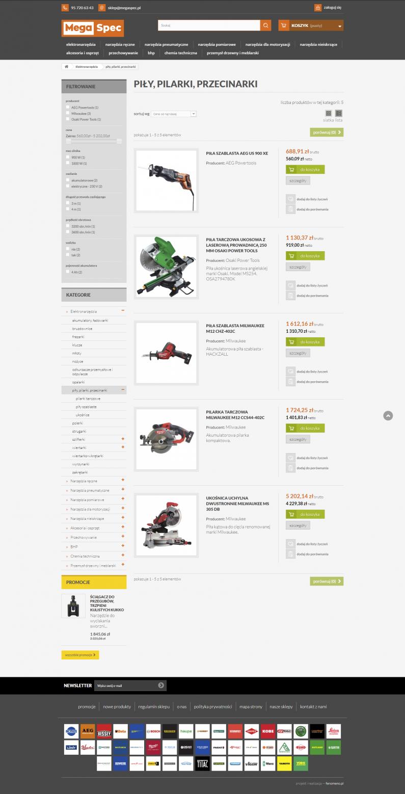 Sklep internetowy megaspec.pl - lista produktów