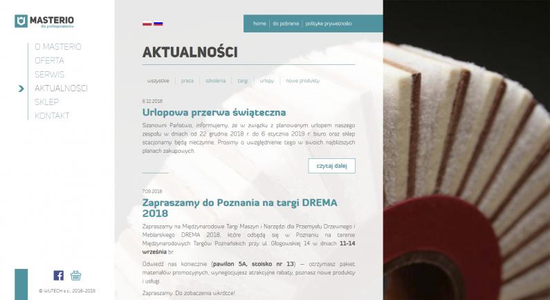 szata graficzna strony internetowej - aktualności