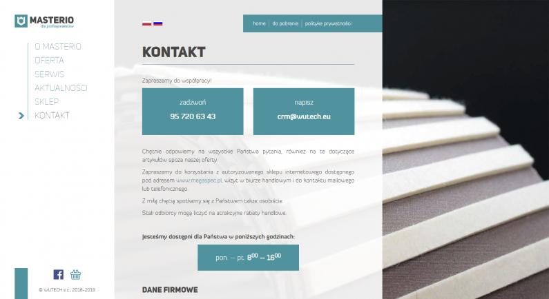 szata graficzna strony internetowej - kontakt