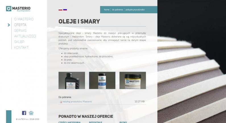 szata graficzna strony internetowej - oleje i smary