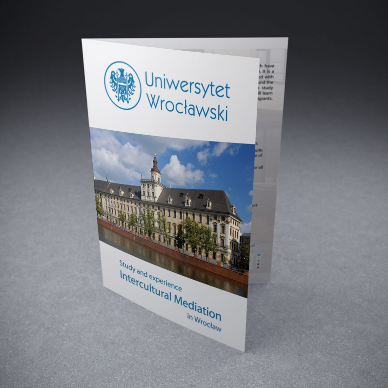Projekt ulotki A5 dla Uniwersytetu Wrocławskiego