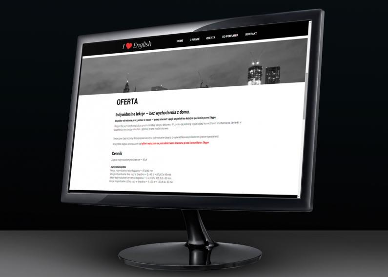Wizualizacja strony internetowej Szkoły języka angielskiego