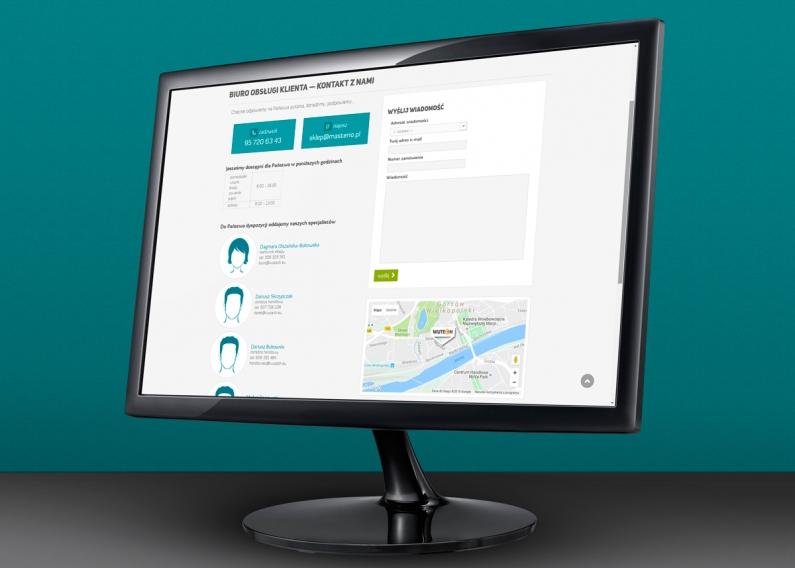 Sklep MASTERIO - dane kontaktowe z formularzem i mapą