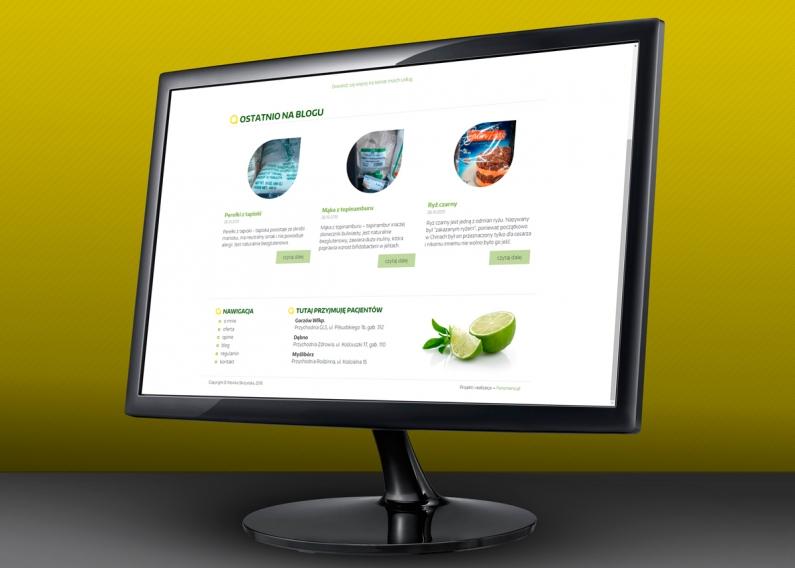 Strona internetowa gabimetu dietetycznego - strona główna
