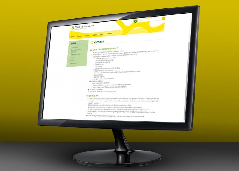Strona internetowa gabimetu dietetycznego - podstrona z ofertą