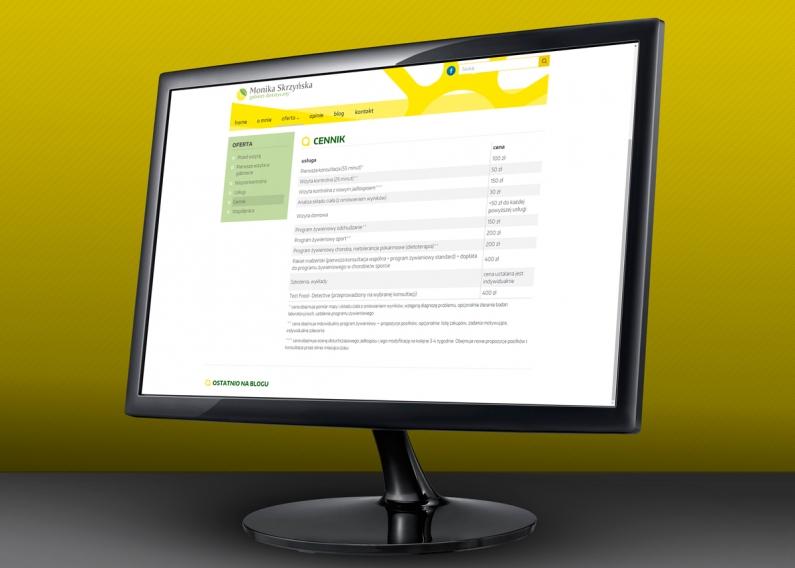 Strona internetowa gabimetu dietetycznego - podstrona z cennikiem