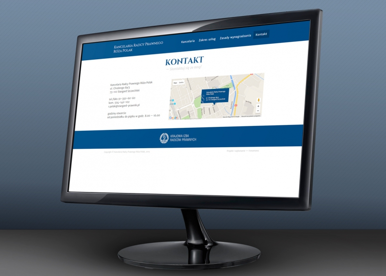 Strona internetowa radcy prawnego - podstrona kontakt